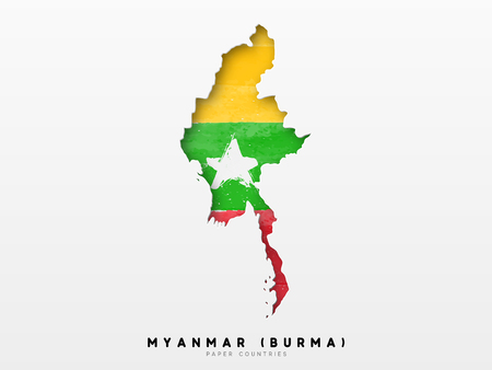 Myanmar (Burma) detailed map with flag of country. Painted in watercolor paint colors in the national flag.