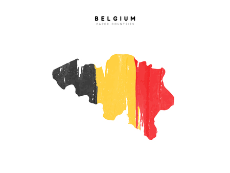 Belgium detailed map with flag of country. Painted in watercolor paint colors in the national flag.