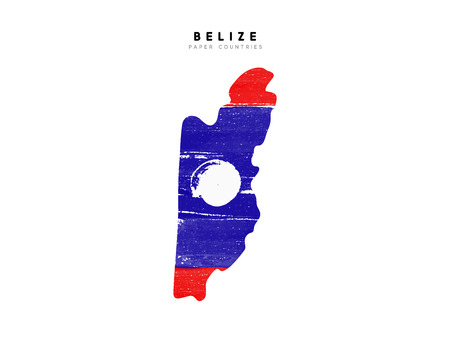 Belize detailed map with flag of country. Painted in watercolor paint colors in the national flag. Vetores