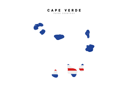 Cape verde detailed map with flag of country. Painted in watercolor paint colors in the national flag.