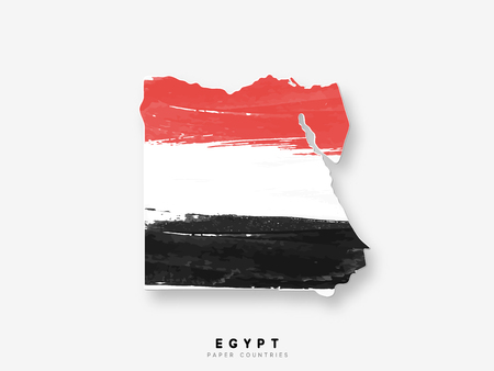 Egypt detailed map with flag of country. Painted in watercolor paint colors in the national flag.