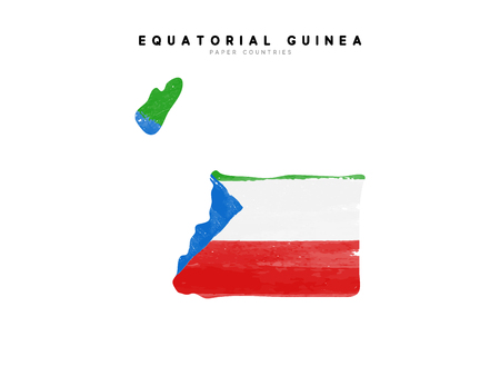 Equatorial Guinea detailed map with flag of country. Painted in watercolor paint colors in the national flag.