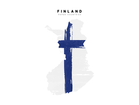 Finland detailed map with flag of country. Painted in watercolor paint colors in the national flag. Illustration