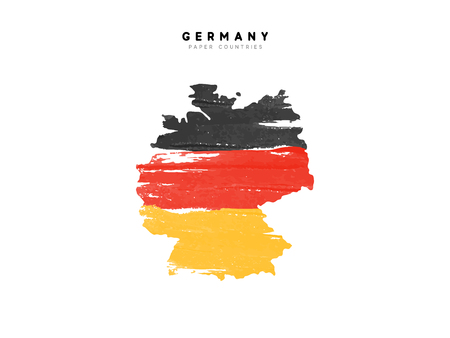 Germany detailed map with flag of country. Painted in watercolor paint colors in the national flag. Ilustrace