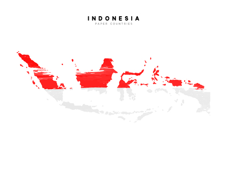 Indonesia detailed map with flag of country. Painted in watercolor paint colors in the national flag. Ilustração