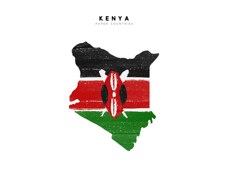 Kenya detailed map with flag of country. Painted in watercolor paint colors in the national flag.
