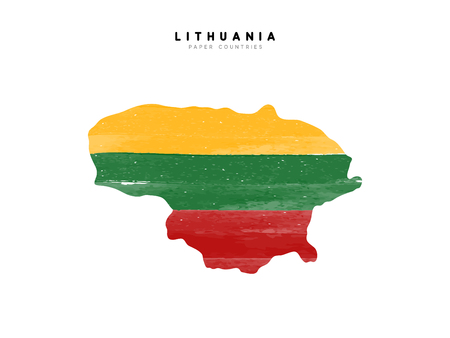 Lithuania detailed map with flag of country. Painted in watercolor paint colors in the national flag.