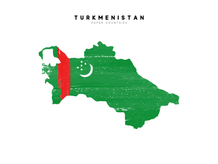 Turkmenistan detailed map with flag of country. Painted in watercolor paint colors in the national flag.