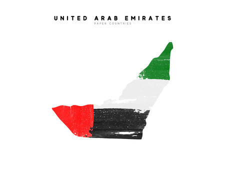 United Arab Emirates detailed map with flag of country. Painted in watercolor paint colors in the national flag.