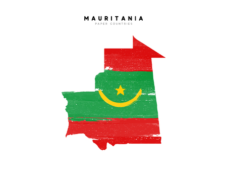 Mauritania detailed map with flag of country. Painted in watercolor paint colors in the national flag.