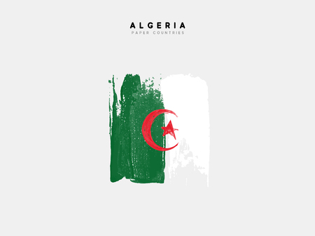 Algeria detailed map with flag of country. Painted in watercolor paint colors in the national flag.