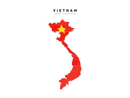 Vietnam detailed map with flag of country. Painted in watercolor paint colors in the national flag.