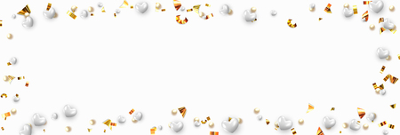 Background with white hearts and round beads strewn with golden confetti Stock Illustratie