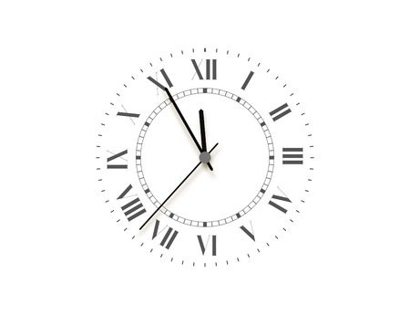 Black face clock, five minutes to midnight. Vector watch Illustration