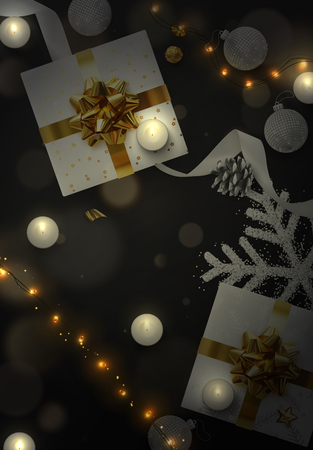 Christmas background. Festive xmas composition of decorative elements. Creative design greeting card, banner, web poster. Top view of gift box, decoration string lights garlands, balls and snowflakes.