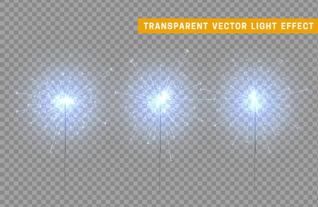 Festive Christmas sparkler decoration lighting element. Sparkler vector firework. Magic light isolated effect. For the background of the holiday and birthday Ilustrace