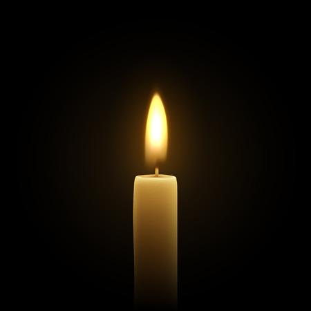 Les bougies brûlent avec le feu réaliste. Ensemble isolé sur fond transparent. Élément de décoration design, illustration vectorielle Vecteurs