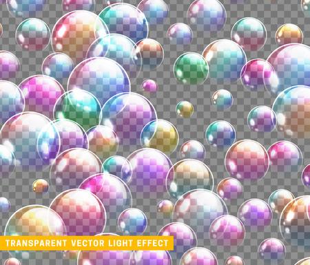 Insieme realistico del sapone delle bolle isolato con l'illustrazione trasparente di vettore del fondo. Riflessione arcobaleno bolla di sapone. Vettoriali