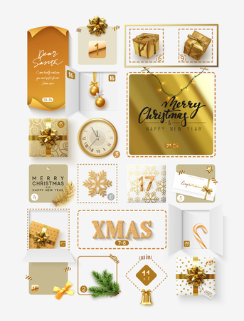 Christmas advent calendar for 24 days. Vector illustration. Stock Illustratie