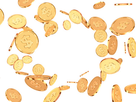 Golden coins. Realistic gold money isolated on white background.