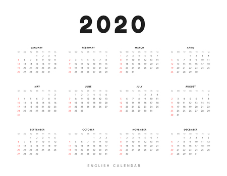 Calendar for 2020 year. Week starts on Sunday. planner for 12 months. Vector calender in English  イラスト・ベクター素材