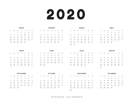 Calendar for 2020 year. Week starts on Monday. planner for 12 months. Vector calender in Spanish  イラスト・ベクター素材