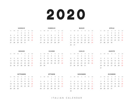 Calendar for 2020 year. Week starts on Monday. planner for 12 months. Vector calender in Italian  イラスト・ベクター素材