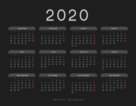 Calendar for 2020 year. Week starts on Monday. planner for 12 months. Vector calender in French