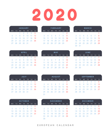 Calendar for 2020 year. Week starts on Monday. planner for 12 months. Vector calender in European  イラスト・ベクター素材