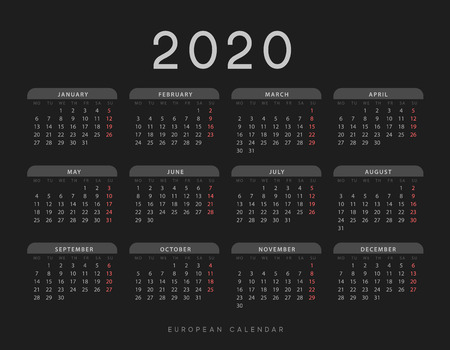 Calendar for 2020 year. Week starts on Monday. planner for 12 months. Vector calender in European 矢量图像