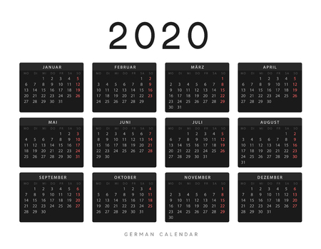 Calendar for 2020 year. Week starts on Monday. planner for 12 months. Vector calender in German