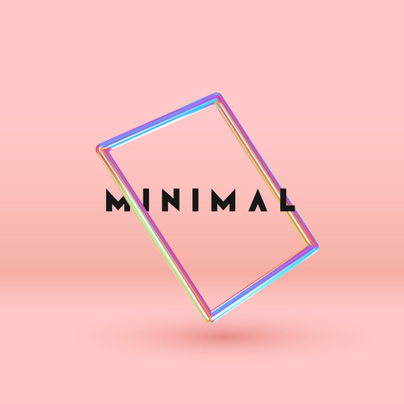 Vector Objects 3d shape. Minimal Abstract background with Gradient blue and pink color elements square frame levitation in space. Poster with realistic geometric volumetric shapes