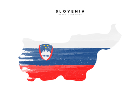 Slovenia detailed map with flag of country. Painted in watercolor paint colors in the national flag.