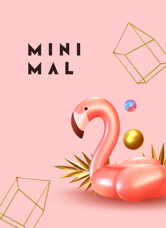 Minimal Abstract Background with 3d objects, pink bird flamingo, geometric golden shape balls, gold palm leaves. Trendy banner, poster, website cover. Summer party style flyer
