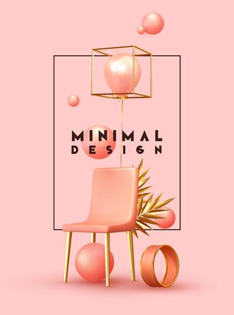 Arrière-plan de conception minimal avec des objets 3d réalistes de différentes formes. chaise rose d'abstraction créative et feuilles de branches de palmier dorées, sphère de corail, boule ronde, ballons de couleur rose.