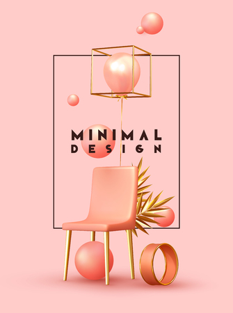 Minimal design background with realistic 3d objects of different shapes. creative abstraction pink chair and golden palm branch leaves, coral sphere, ball round, ballons rose color. Illustration