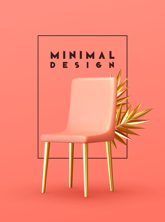 Minimal design background with realistic 3d objects of different shapes. creative abstraction pink chair and golden palm branch leaves Vektorové ilustrace