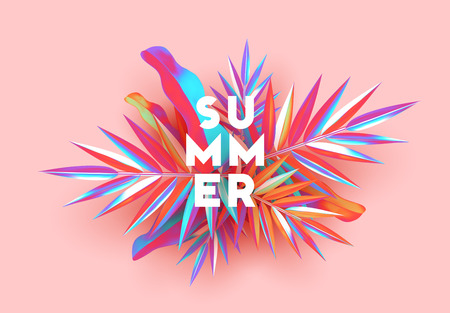 Background palm leaves branches of gradient color. Summer banner, poster with 3d objects fluorescent shade Illustration