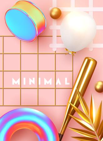Minimale ontwerpachtergrond met realistische 3D-objecten van verschillende vormen. creatieve abstractie poster, gouden palmbladeren, gouden bol, bal ronde, patroon met geometrische figuur. kunst trendy compositie