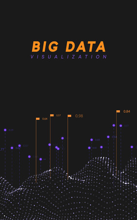 Big data visualization. Information wave technology. Futuristic abstract background of digital bigdata. analytical data calculation and processing. vector illustration Vectores