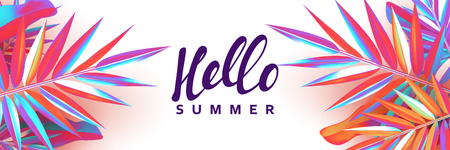 Summer banner. Background palm leaves branches of gradient color. Poster with 3d objects fluorescent shade. Vector headers website