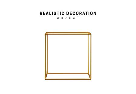 Golden geometric 3d object isolated on white background Standard-Bild - 123602880