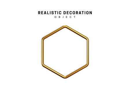 Golden geometric 3d object isolated on white background Illustration