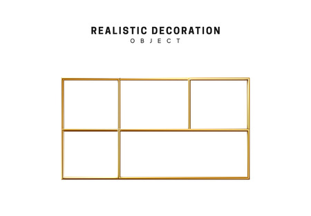Golden geometric 3d object isolated on white background Ilustracja