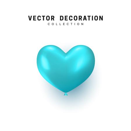 Blue heart realistic balloon isolated on white background Illusztráció