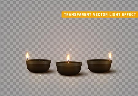 Set of decorative burning candles isolated realistic. Decor for Diwali celebration.