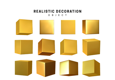 Cube in gold metalic. Square Realistic geometric shapes. Golden decorative design elements isolated white background. 3d objects cube-shaped yellow color. vector illustration.