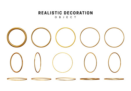 Gold geometric shapes. Golden decorative design elements isolated on white background. Bronze metallic silhouettes. 3d objects shaped yellow round rings of different thickness.
