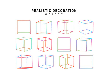 Gradient pink and blue geometric shapes. Decorative design elements isolated white background. 3d objects shaped linear square, cube empty. Realistic vector illustration.