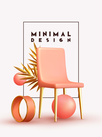 Minimal design background with realistic 3d objects of different shapes. creative abstraction pink chair and golden palm branch leaves, coral sphere, ball round